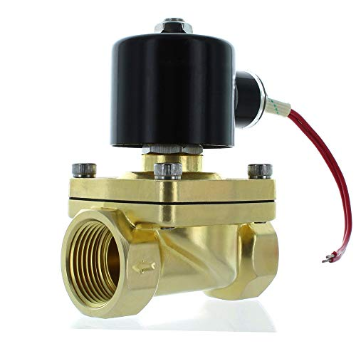 1 Inch Brass Solenoid Valves,10v/115v/120v AC Brass Electric Air Water Gas Diesel Normally Closed NPT High Flow