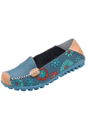 Style2 Sko Matchlife Vintage Casual blå Flat Pumpe Skinn Kvinner WwfqwOzF