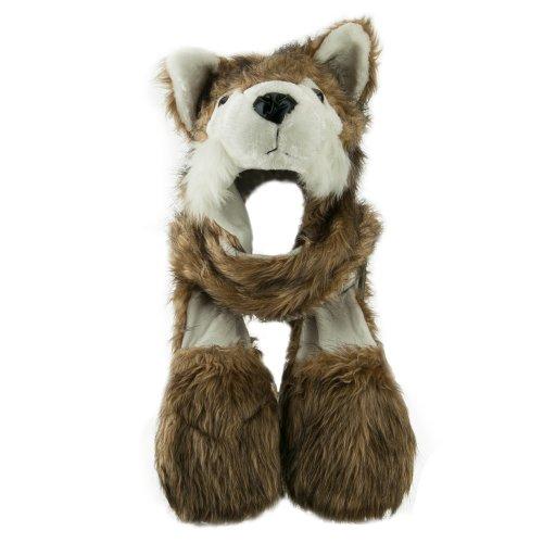 Long Furry Animal Ear Hat with Paws - Husky OSFM