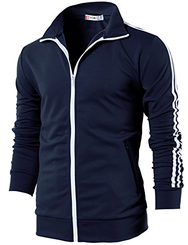 H2H Mens Slim Fit Zip-up Long Sleeves Training Jacket Navy US M/Asia L (CMOJA0103)
