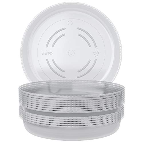 CandyHome 10 Pieces of 10 Inch Clear Plant Saucers, Plastic Plant Trays for Household and Garden Plants