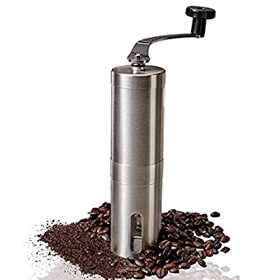 Xrarphy Manual Coffee Grinder: Hand Held Steel Body Coffee Bean Mill With Ceramic Burr, Stainless Shell, Removable handle from Xrarphy