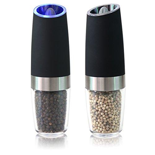 (Gravity Electric Salt and Pepper Grinder Set with LED Light, Battery Powered Salt and Pepper Mills, Automatic Salt and Pepper Shakers & Adjustable Coarsenes,2 PCS (Black))