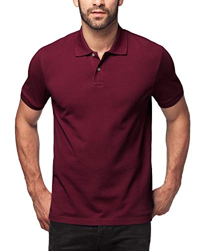 (LAPASA Polo Shirt for Men, 100% Cotton, Piqué Knitted Fabric (no Jersey). Longer Back-Hem, Short Sleeve M19 (M/Chest 38-40