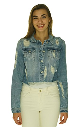 Embellished Denim Crop Jacket - Buffalo David Bitton Denim Embellished Crop Jacket Denim Large