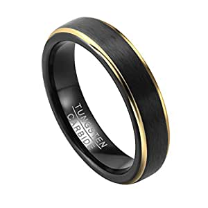 PiercingJ Women Men Unisex 5mm Black Matte Gold Plated Tungsten Carbide Ring Wedding Band Love Couple Engagement Band Size us 7 + Free Gift Box