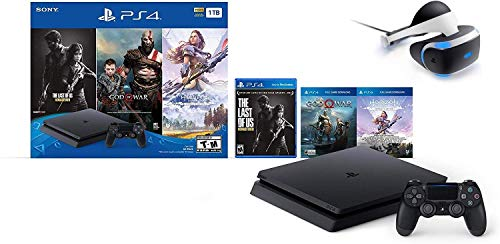 PlayStation 4 Slim 1TB Only on PlayStation Console Bundle | God of War Game Voucher,Horizon Zero Dawn: Complete Edition Voucher,PlayStation VR Core Headse, The Last of Us Remastered Game | Jet Black
