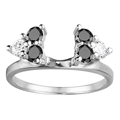 Black Cz Engagement Ring Jacket in Sterling Silver (0.12Ct) Size 3 To 15 in 1/4 Size Interval by TwoBirch (Image #7)