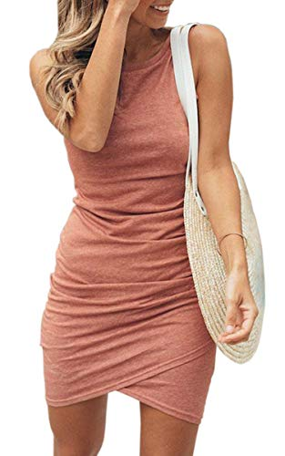 Hibluco Women's Sleeveless Round Neck Wrap Asymmetrical Ruched Bodycon Slim Dress