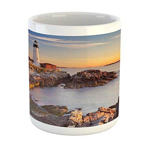 - Ambesonne United States Mug, Cape Elizabeth Maine River Portland Lighthouse Sunrise USA Coast Scenery, Ceramic Coffee Mug Cup for Water Tea Drinks, 11 oz, Blue Tan