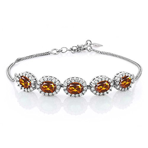 - Gem Stone King 4.54 Ct Oval Orange Red Madeira Citrine 925 Sterling Silver Bracelet 7inches + 1.5inches Extender