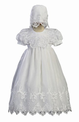 White Embroidered Organza Christening Baptism Gown with Bonnet - XL (12 - 18 Month)