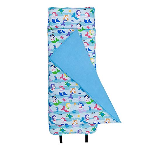 Wildkin Original Nap Mat, Features Built-In Blanket and Pillow, Perfect for Daycare and Preschool or Napping On-the-Go, Olive Kids Design – Mermaids -