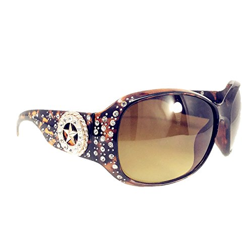 (Texas West Star Round Concho Rhinestone Western Bling Sunglasses UV 400 Lens In Multi Colors (Leopard))
