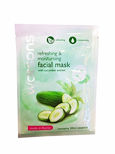 [4 Mask sheets of Watsons Refreshing & Moisturising Facial Mask with Cucumber Extract. Made in Korea. (30 Ml Essence/] (Doctor Watson Costume)