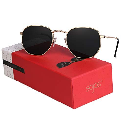 SOJOS Small Square Polarized Sunglasses for Men and Women Polygon Mirrored Lens SJ1072 with Gold Frame/Grey Polarized Lens with Gift Box
