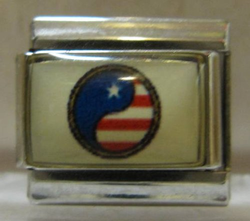 9mm Italian Charm... Ying Yang with American Flag