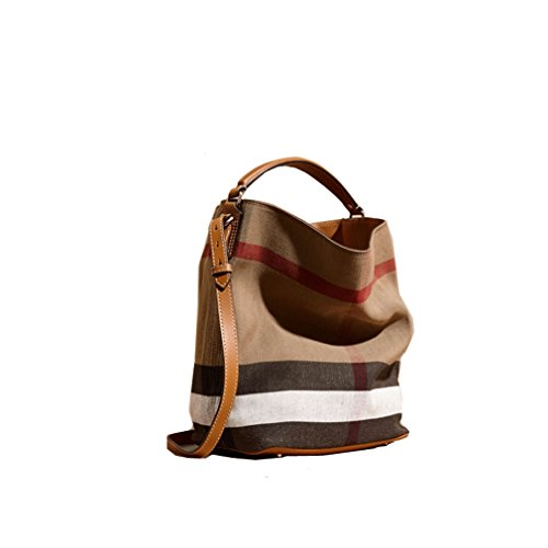 Fashionable Brand Burberry The Ashby - Medium Canvas Check Pattern Leather Eshibe Handbags Brown by BURBERRY
