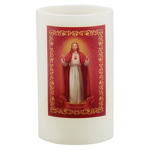 Garden Party Candle Collection Catholic Wax Flameless LED Candle with Prayer, 5 Inch (Sacred ()