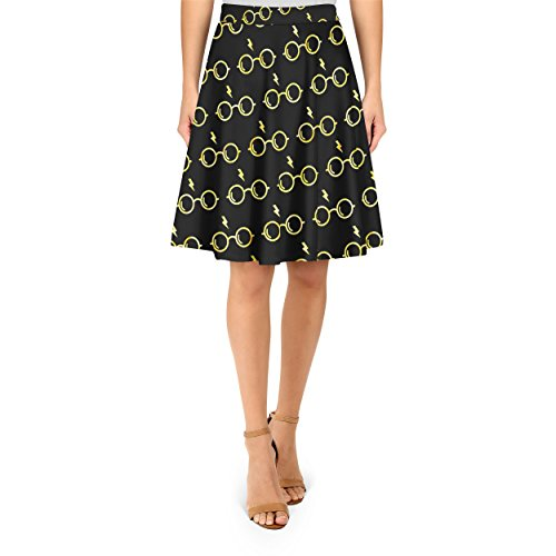 Glasses & Lightning Bolt Yellow A-Line Skirt Rock XS-3XL