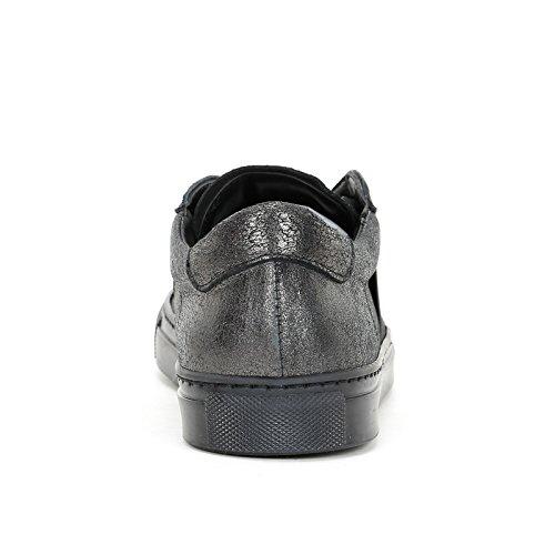 Alesya Sport by Scarpe&Scarpe - Zapatillas con Elástico EN Contraste, de Piel - 38,0, Antracite