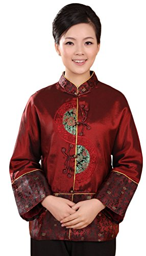 [AvaCostume Women's Chinese Tang Suit Style Standing Collar Satin Coat Casual Size US 12 Red] (Chinese Dynasty Costume)