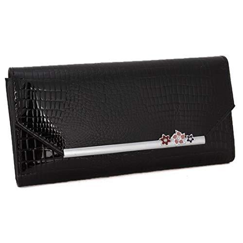 (A-KEY Clutch Bag Wallet Blocking Wax Leather Designer Trifold Multi Card Organizer Lady Clutch for Women Evening Bag for Bridal (Color : Black))