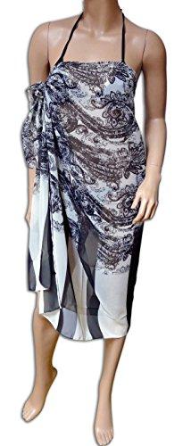 se40891 - Pareo Sarong Strandtuch schwarz weiß mit abstraktem Blumenprint