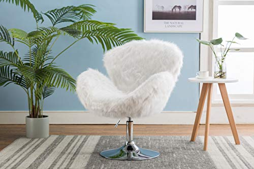 ZHENGHAO Faux Fur Swivel Makeup Stool, Modern White Swan Chair Long Hair Shaggy Dog Accent Chair for Living Room/Bedroom (Alabaster White) - 7