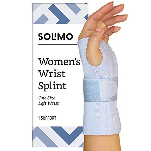 (Amazon Brand - Solimo Women's Wrist Splint, Left Hand, One Size)