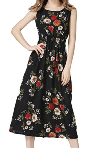 Coolred-femmes Fleur Sexy Impression Mi-longue Robe De Plage Taille Smockée Ras Du Cou Noir Sans Manches