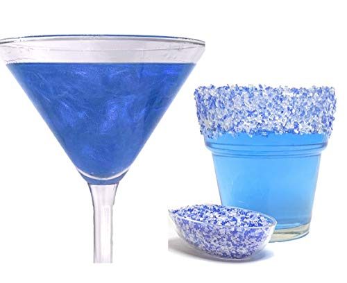 Snowy River Cocktail Glitter & Cocktail Salt Decorating Pack - Kosher Cocktail Decorating Salt, Beverage Glitter, Cocktail Party Decorating, Cocktail Garnish (Blue Ocean, 12g Glitter & 6oz Salt)