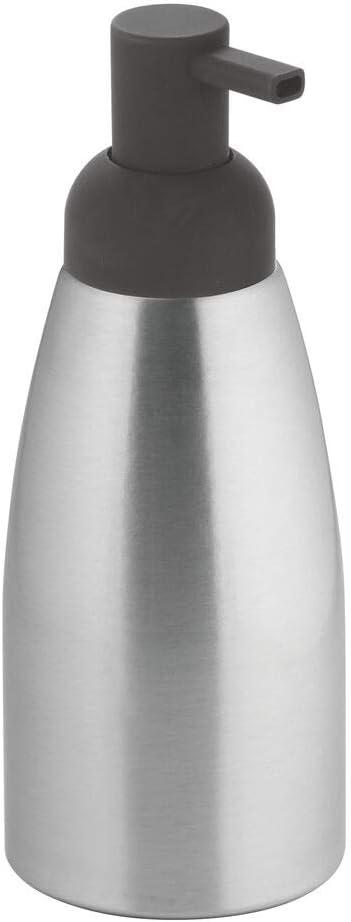 mDesign Modern Aluminum Metal Refillable Liquid Soap Dispenser Pump Bottle for Bathroom Vanity Countertop, Kitchen Sink - Holds Dish Soap, Hand Sanitizer, Essential Oils - Rust Free - Brushed/Gray