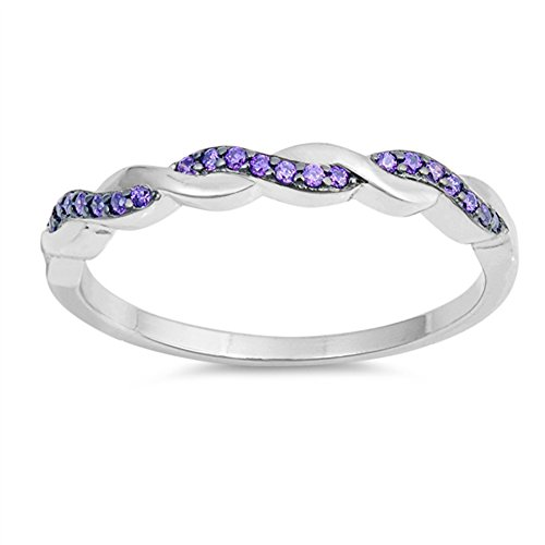 (Simulated Amethyst Criss Cross Knot Promise Ring .925 Sterling Silver Band Size 7)