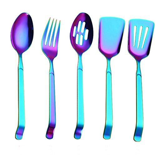 (Yeefant Stainless Steel Upscale Public Dinnerware Flatware Colander Dessert Fork Cutlery Teaspoon Coffee Drinking Tools Kitchen Gadget Coffee Drinking Tools Kitchen (MulticolorF))
