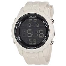Breda Men's 9303-white Mason Large Digital Chronograph Rubber Watch