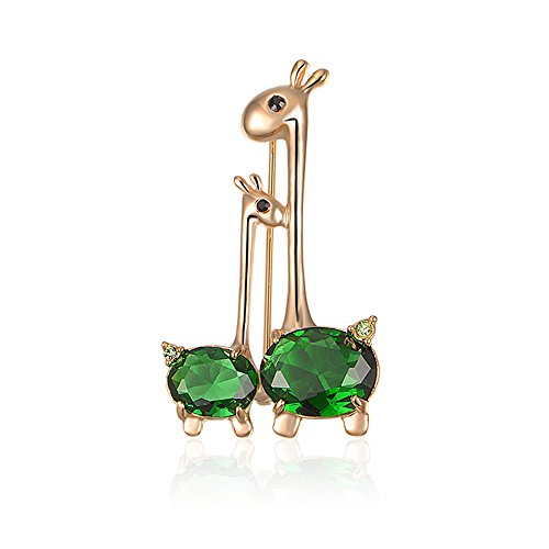 Mytys Thanksgiving Jewelry Cute Mother-Baby Giraffe Animal Brooch Crystal Pin for Women Children