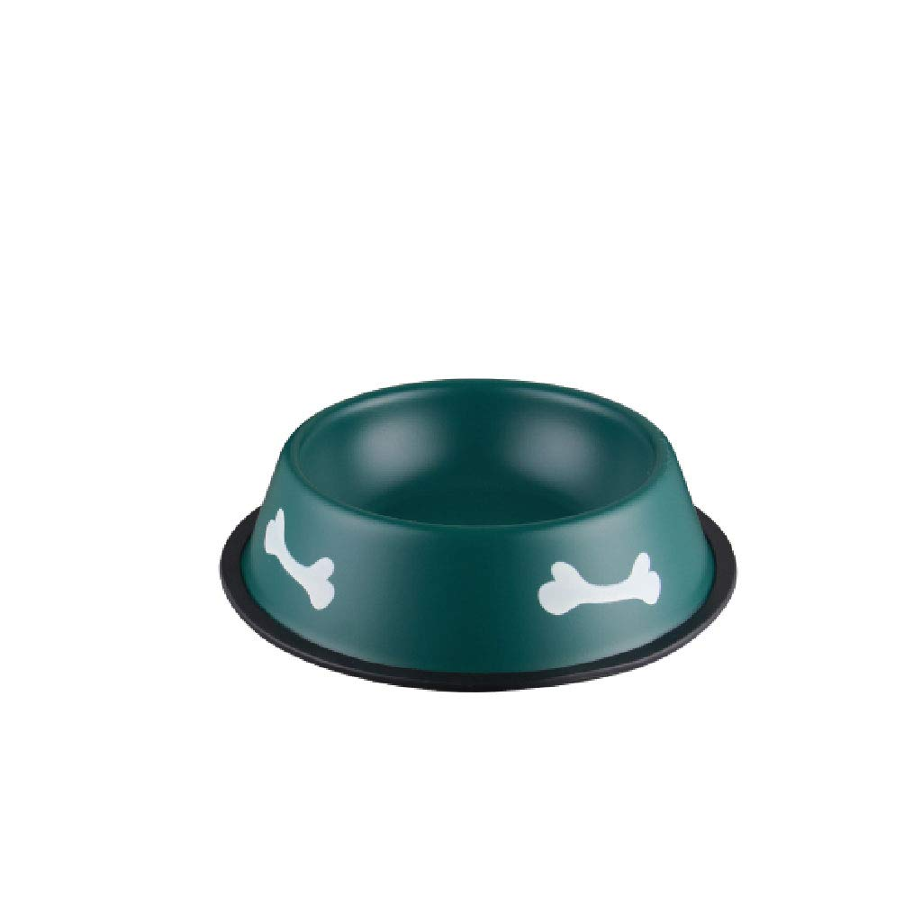 Army Green CWWAN Pet Bowl Dog Food Bowl cat Food Bowl pet Water Bowl Stainless Steel Single Bowl (Military Green color)