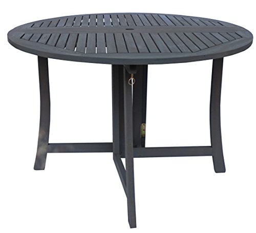 Zen Garden 43 inch Foldable Deck Table, Dark Grey Wood Finish