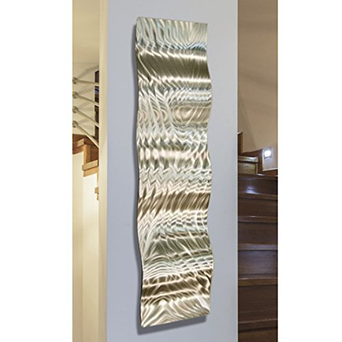 - Statements2000 Modern Abstract All Natural Silver Metal Wall Accent - Home Office Decor Sculpture Art - Mercury Wave by Jon Allen - 46