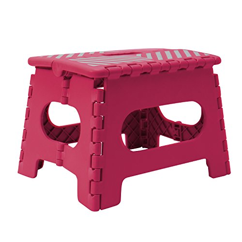 Simplify 9'' Stripe Top Folding Step Stool, Hold up to 200lb by Simplify