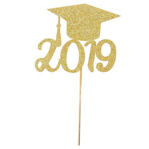 Gold Glitter Grad of 2019 Graduation Cake Topper-Congrats