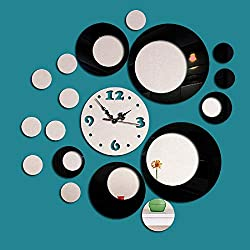 Fymural DIY Wall Clock Wall Stickers-Round Modern Acrylic Mirror Surface 3D Simple Big Size Wall Decor Clocks Numbers Stickers for Living Room Bedroom TV Wall Decoration Removable (Black)