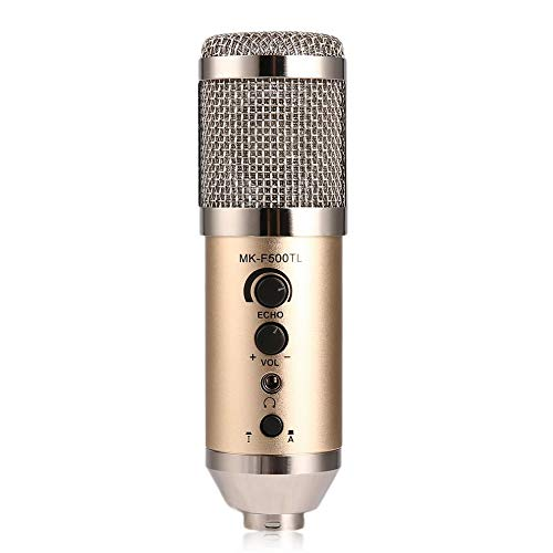 Vocal Mic Professional Large Diaphragm Studio Recording Microphone For Computer Mobile Phone Champagne Color -