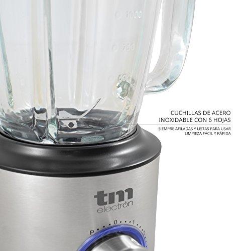 Tm Electron Tmpba011 - Batidora de vaso con jarra de vidrio tratado, 1,75 L, 5 velocidades, 1200 W, color gris: Amazon.es: Hogar