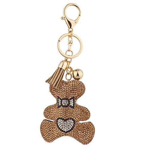 Lux Accessories Tan Gold Sticker Stone Studded Teddy Bear Keychain Bag -