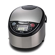 Tiger Corporation JAX-T18U 10-Cup Micom Rice Cooker and Warmer with Tacook Plate, Stainless Steel Black