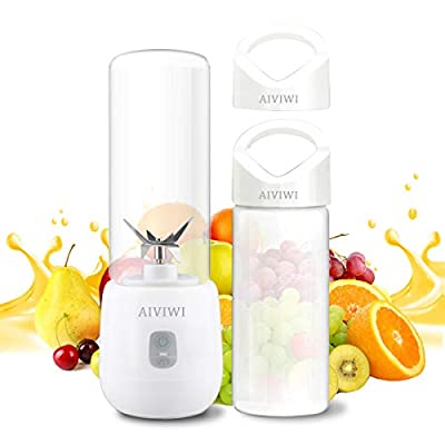 AIVIWI Portable Personal Juicer Blender for Shake and Smoothies, Mini USB Juicer Blender of Rechargeable with 2pcs 450ml Burable Glass Portable Juicer Bottles suitable for Home,Outdoors and Travelling
