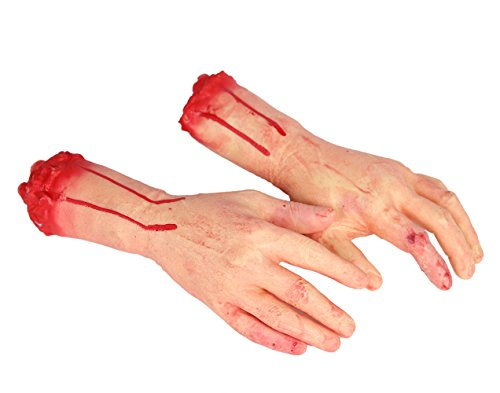 Body Halloween For Parts (E-FirstFeeling 1 Pair of Severed Hands Scary Bloody Broken Body Parts for Halloween April Fool Prank Props Decorations)