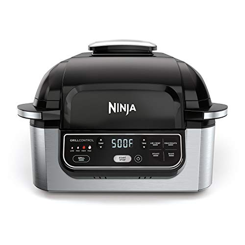 Ninja Foodi 5-in-1 Indoor Grill with 4-Quart Air Fryer with Roast, Bake, Dehydrate, and Cyclonic Grilling Technology, IG301A